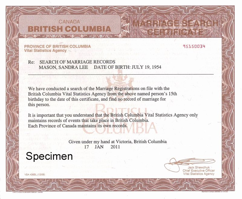 Sample Of Marriage Certificates Fresh Search Of Marriage Records to Prove Freedom to Marry Province Of British Columbia