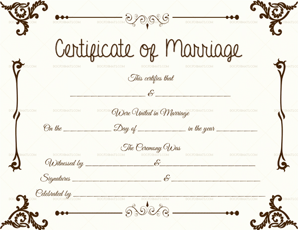 Sample Of Marriage Certificates Luxury Marriage Certificate format 7 Blank Editable formats Dotxes