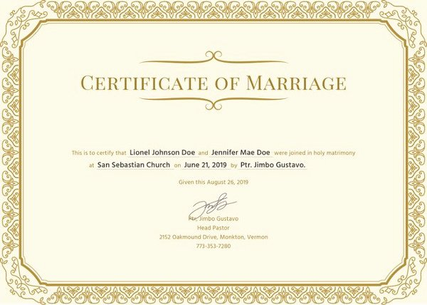 Sample Of Marriage Certificates Luxury Marriage Certificate Template 11 Word Pdf Psd format Download