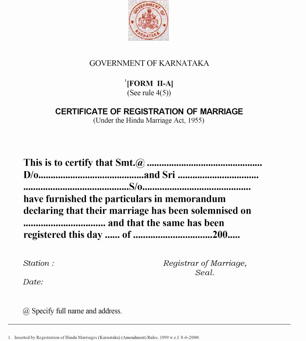 Sample Of Marriage Certificates New Sample Marriage Registration Certificate Indiafilings Learning Centre