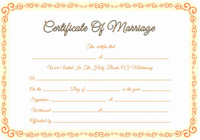 Sample Of Marriage Certificates Unique 43 formal and Informal Editable Certificate Template Examples for Your Inspiration Thogati