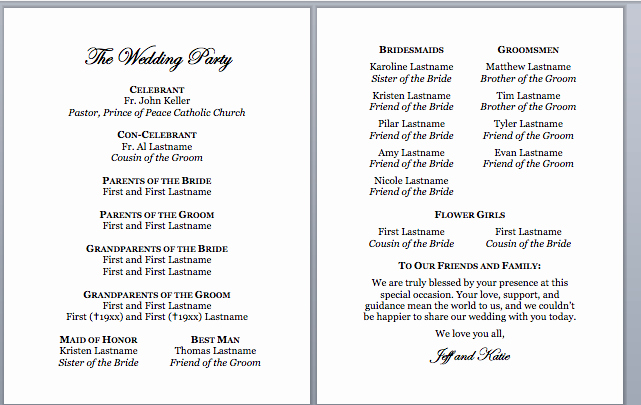 Sample Of Wedding Programme Beautiful Spirals & Spatulas Catholic Wedding Program