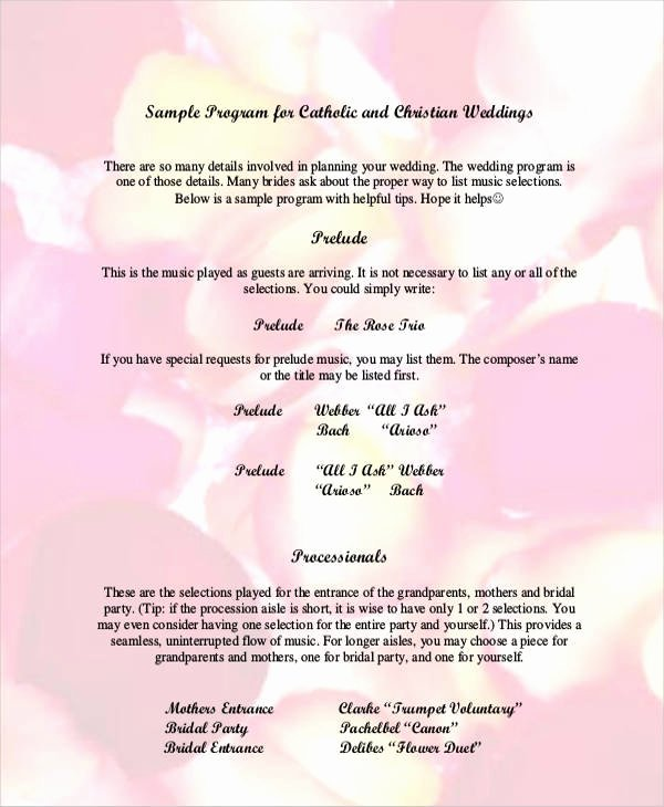 Sample Of Wedding Programme Elegant 7 Wedding Programs Free Sample Example format Download