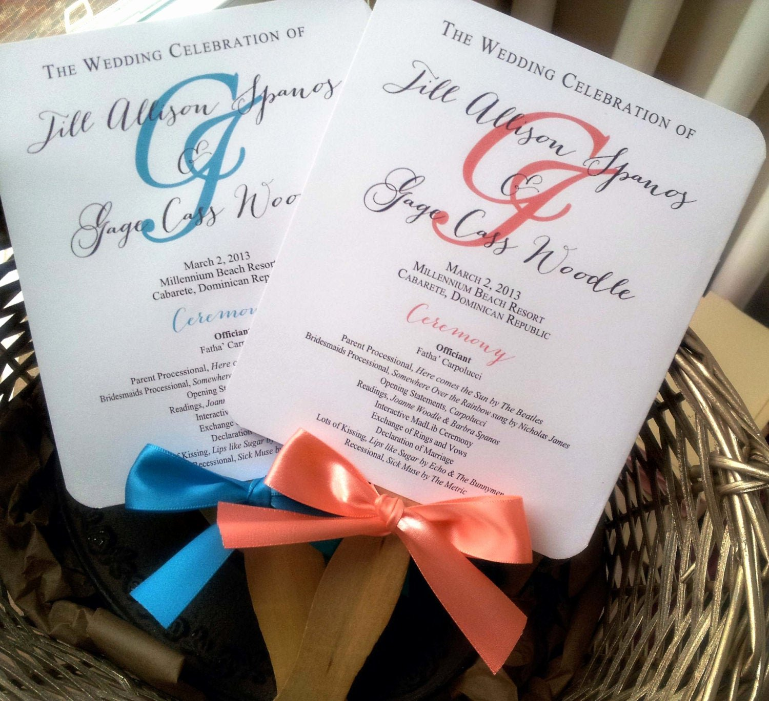 Sample Of Wedding Programme Fresh Turquoise Wedding Program Fans Pick Two by Pinkorchidinvites