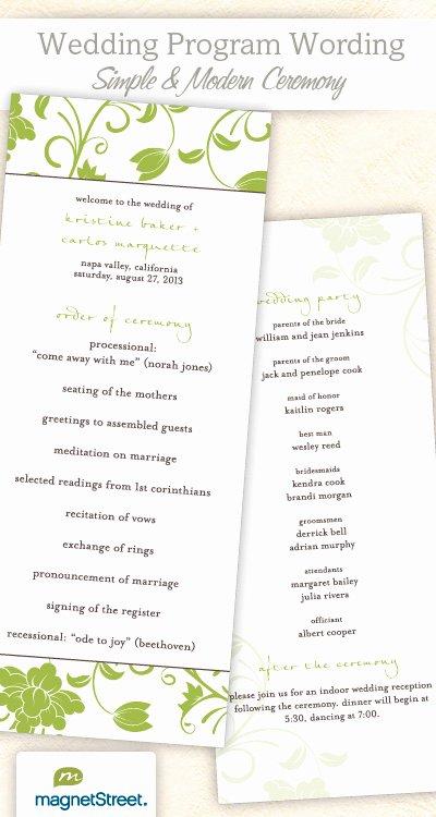 Sample Of Wedding Programme Fresh Wedding Program Wording & Templateswedding Program Wording