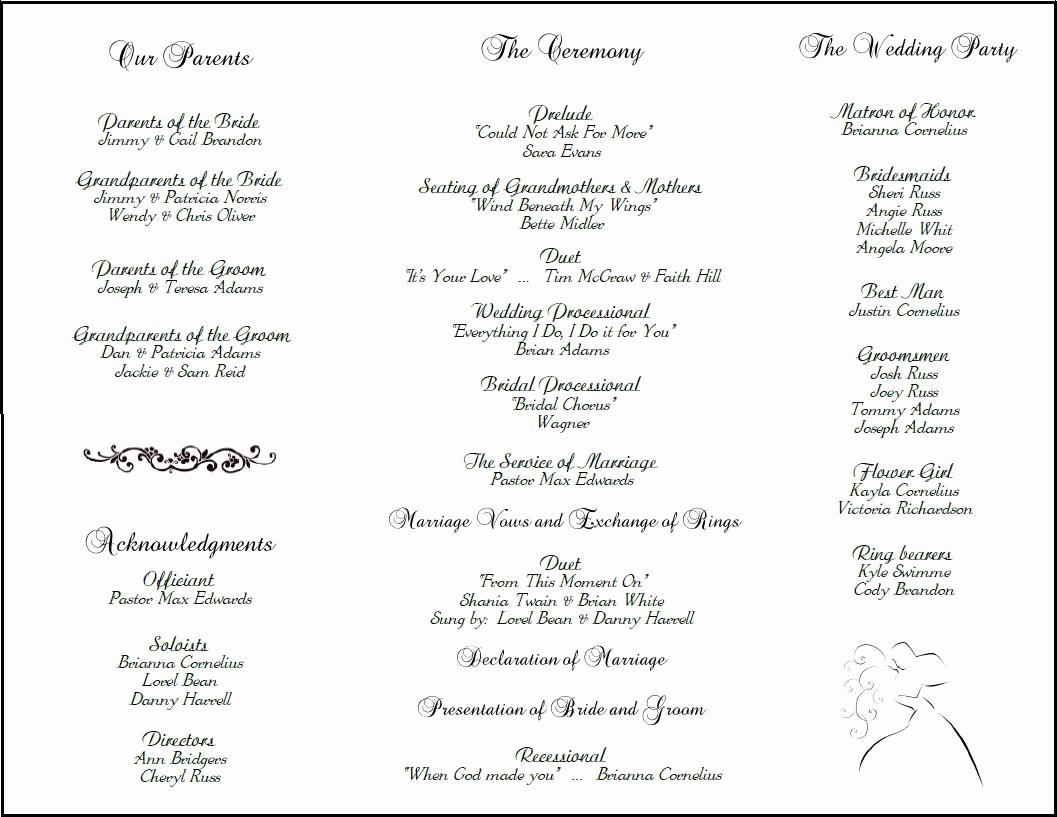 Sample Of Wedding Programme Inspirational Example Of Wedding Programs