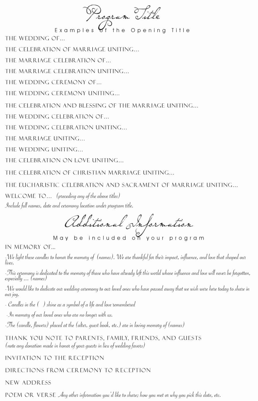 Sample Of Wedding Programme Lovely 37 Printable Wedding Program Examples & Templates