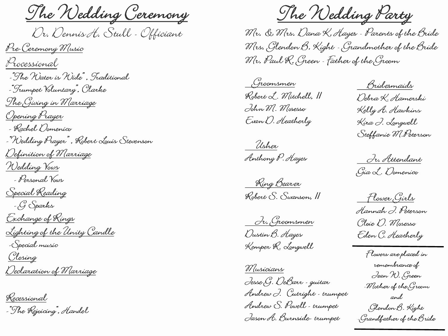 Sample Of Wedding Programme Luxury Creative Wedding Programs