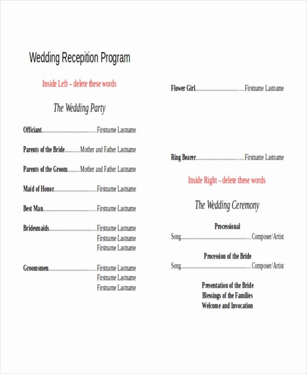 Sample Of Wedding Programme Unique 10 Wedding Program Templates Free Sample Example