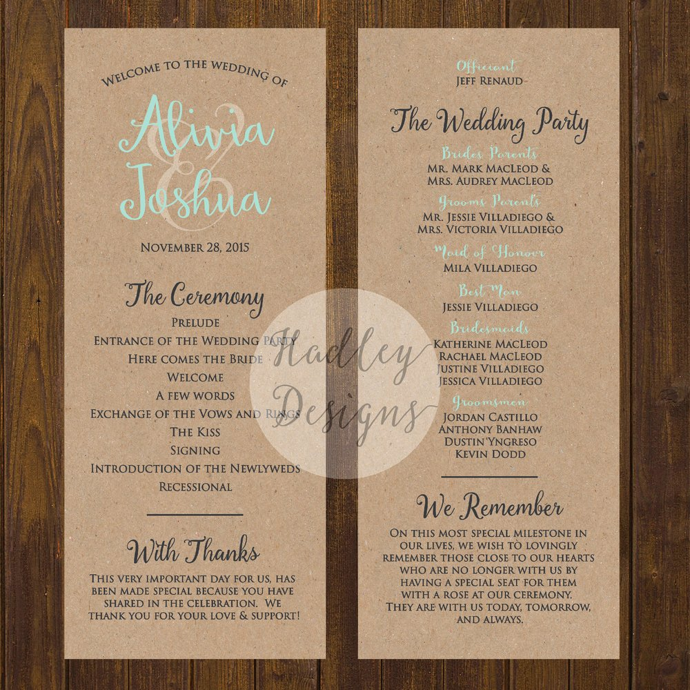 Sample Of Wedding Programs Awesome Hadley Designs Programs