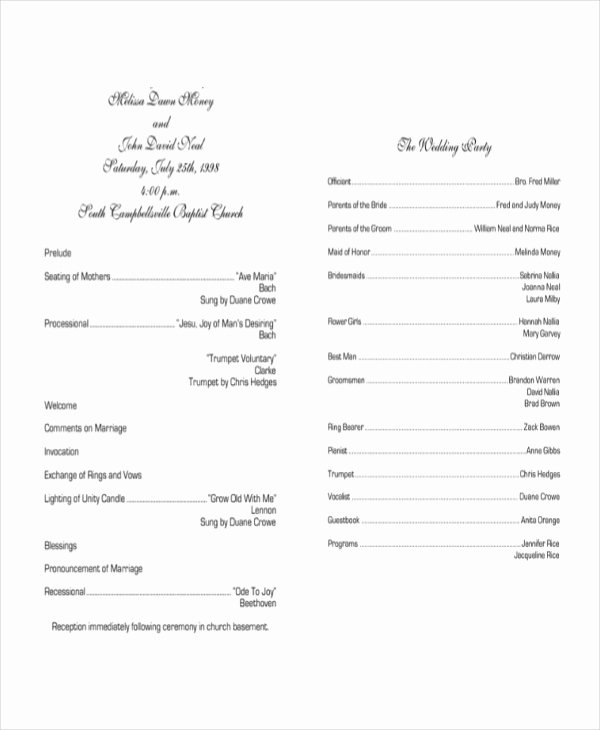 Sample Of Wedding Programs Best Of Sample Wedding Programs