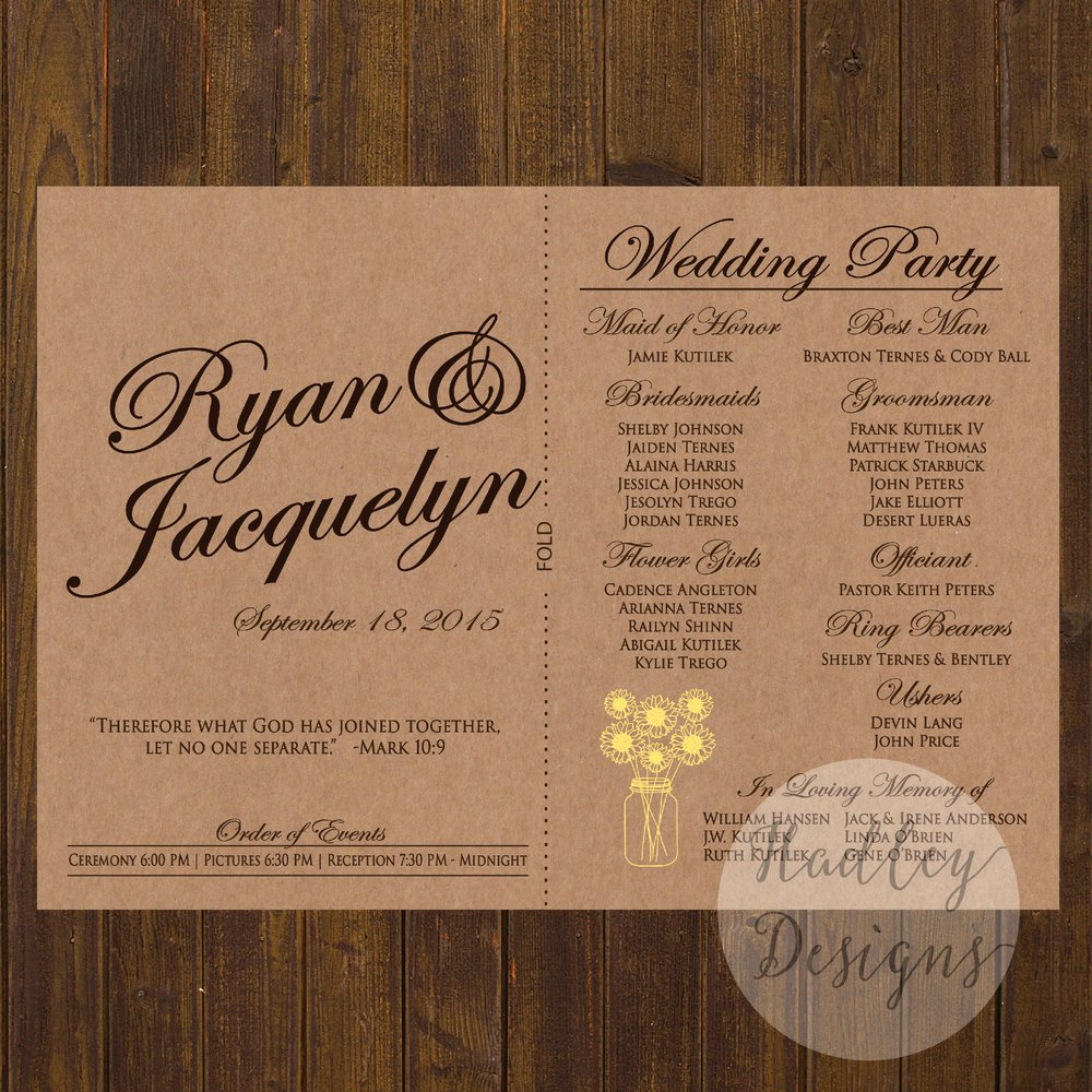 Sample Of Wedding Programs Elegant Hadley Designs Programs
