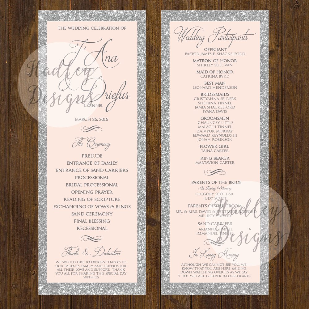Sample Of Wedding Programs Fresh Hadley Designs Programs