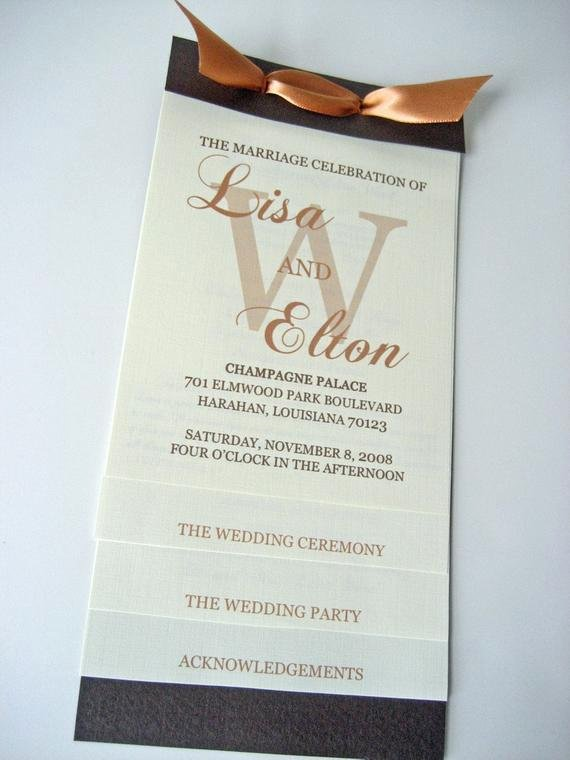 Sample Of Wedding Programs Lovely Layered Wedding Program 4 25x9
