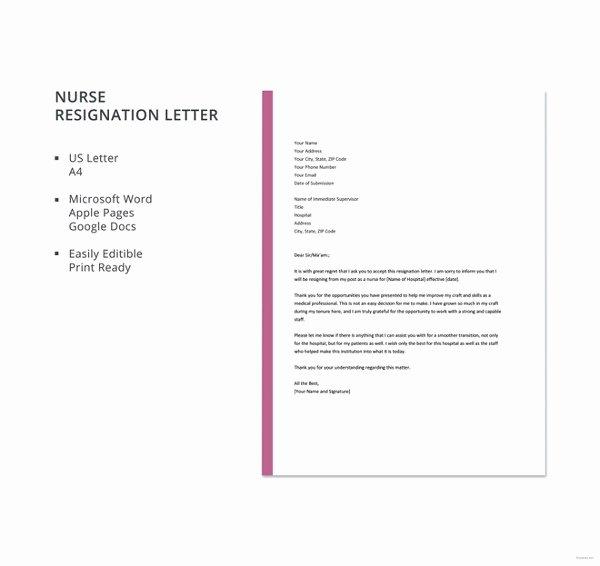 Sample Resignation Letter Nurses Fresh 13 Sample Nursing Resignation Letter Templates Pdf Doc