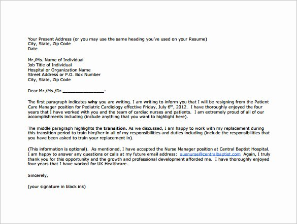 Sample Resignation Letter Nurses Luxury 11 Sample Nursing Resignation Letter Templates Pdf Doc