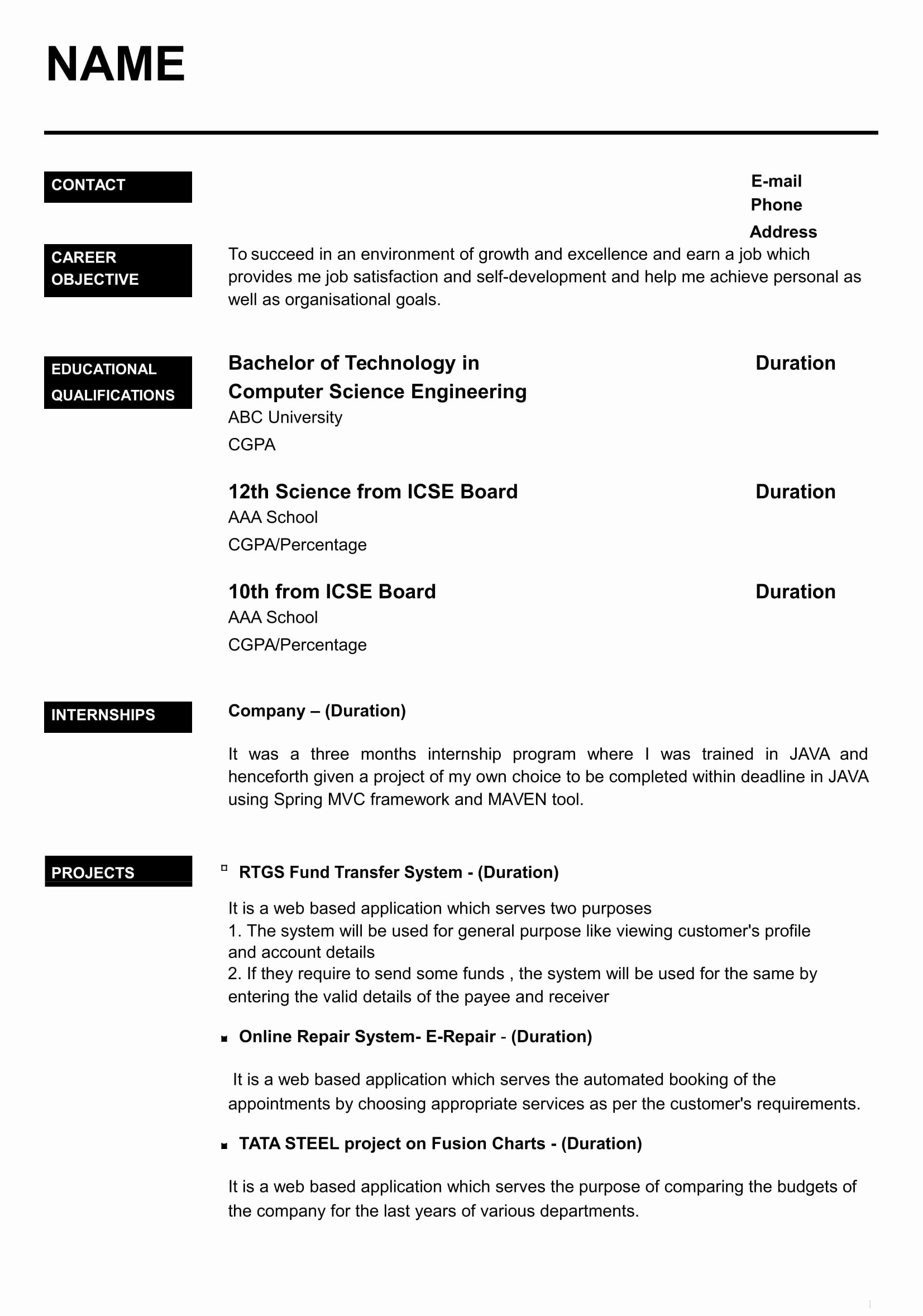 Sample Resume for Freshers Beautiful 32 Resume Templates for Freshers Download Free Word format