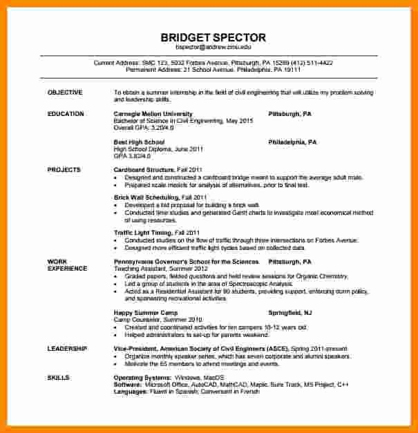 Sample Resume for Freshers Beautiful 5 Cv format Pdf for Freshers
