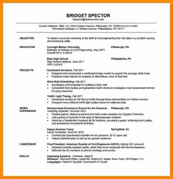 Sample Resume for Freshers Beautiful 5 Cv format Pdf for Freshers