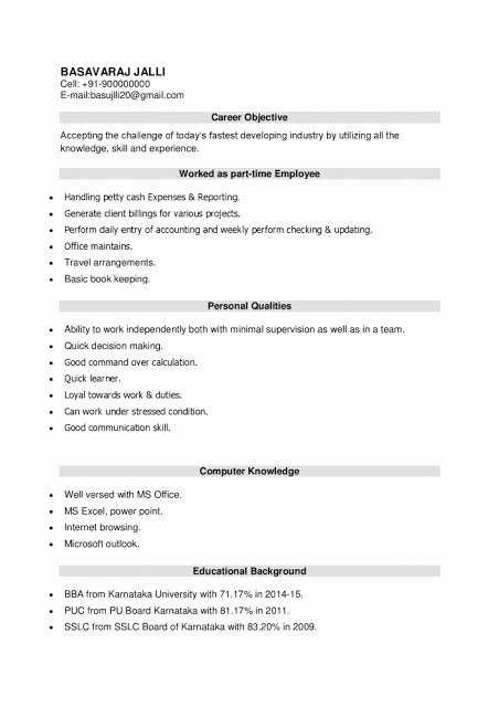 Sample Resume for Freshers Beautiful Latest Resume format for Bba Freshers Download Resume Samples & Projects now