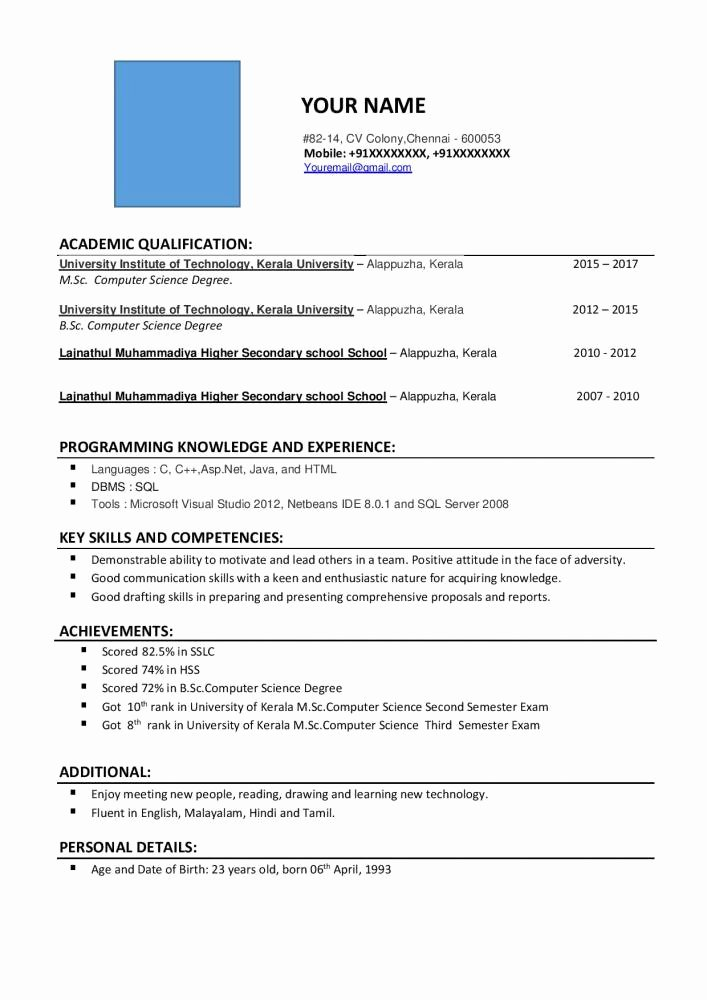 Sample Resume for Freshers Beautiful Resume format for M Sc Puter Science Freshers Free Download Resume Samples & Projects