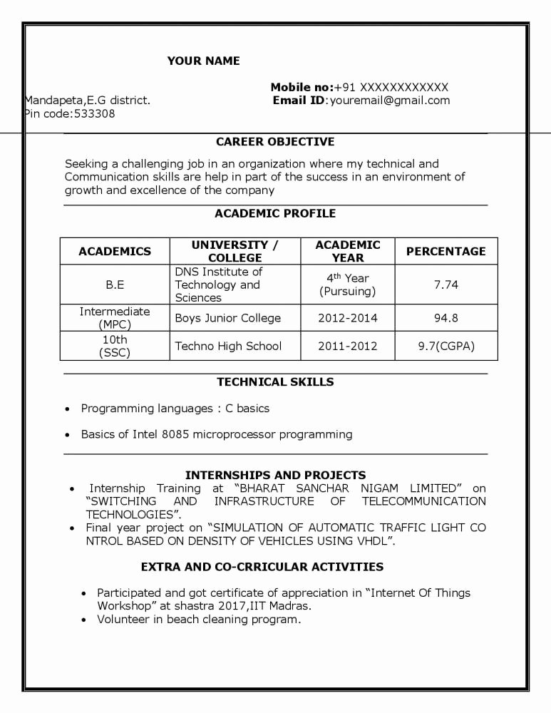 Sample Resume for Freshers Elegant Sample Resume for B Tech Ece Student Resume Freshers Download Resume Samples & Projects