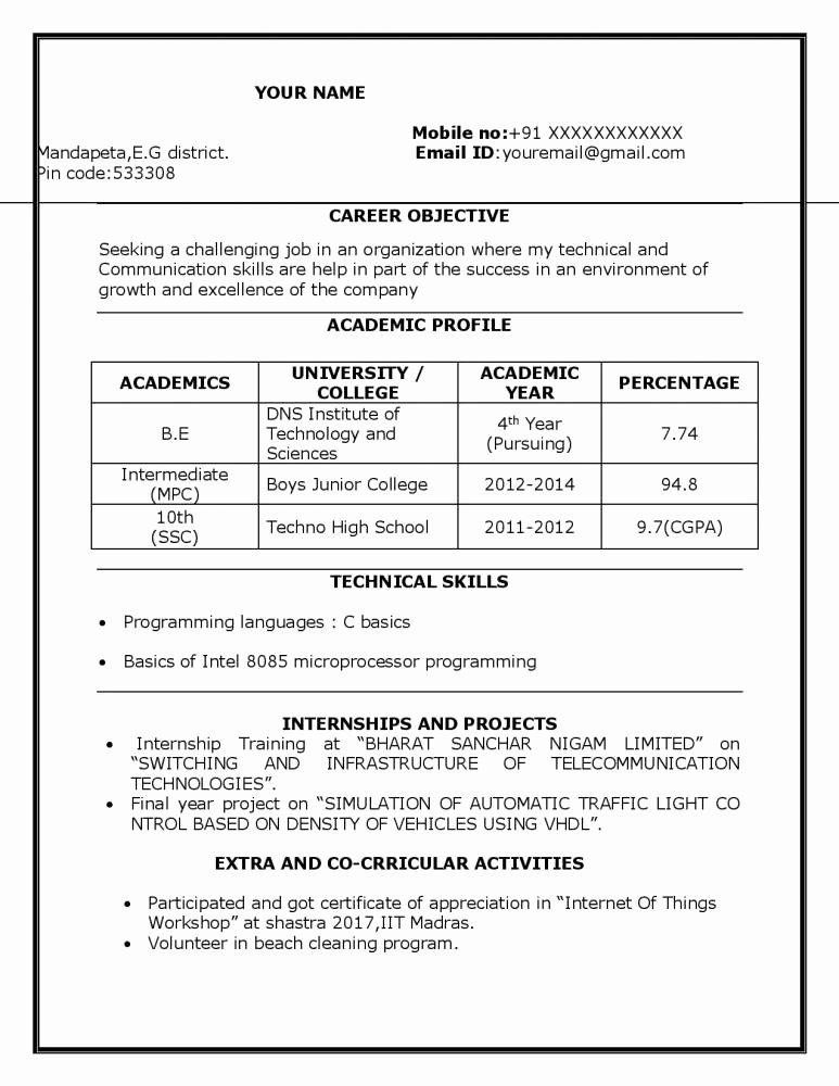 Sample Resume for Freshers Elegant Sample Resume for B Tech Ece Student Resume Freshers Download Resume Samples & Projects