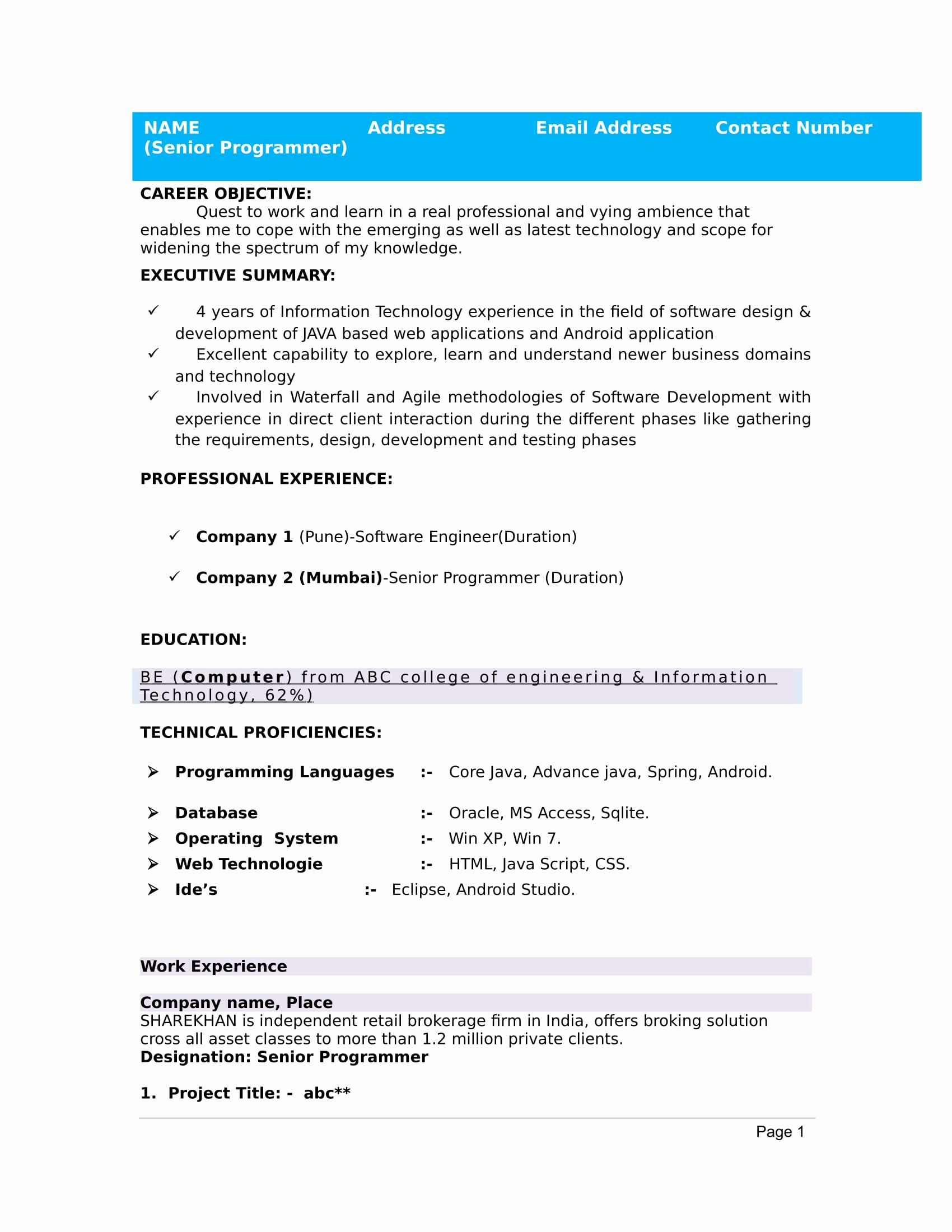 Sample Resume for Freshers Lovely 32 Resume Templates for Freshers Download Free Word format