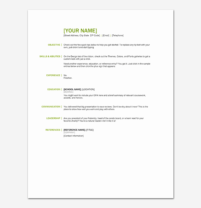 Sample Resume for Freshers New Resume Template for Freshers 18 Samples In Word Pdf foramt