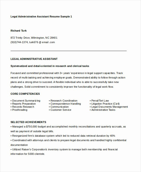 Sample Resume Legal Administrative assistant Best Of Administrative assistant Resume 16 Free Word Pdf Psd Documents Download