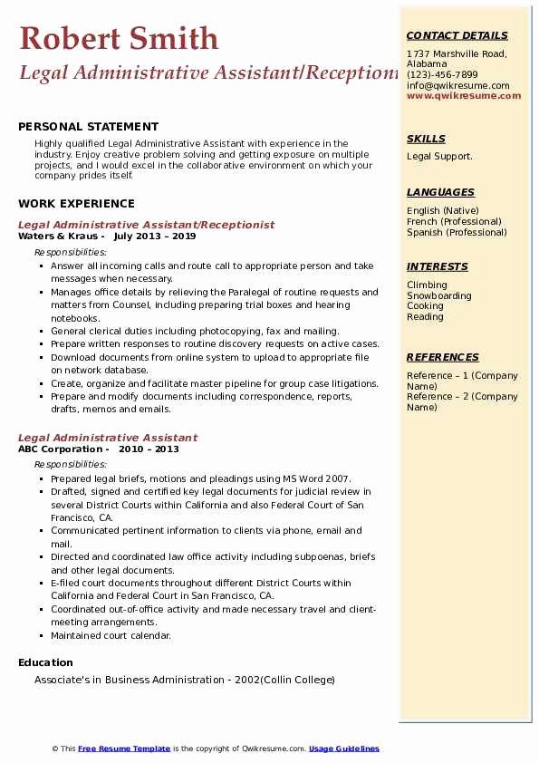 Sample Resume Legal Administrative assistant Best Of Legal Administrative assistant Resume Samples