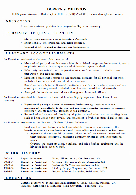 Sample Resume Legal Administrative assistant Elegant Resume Sample Executive assistant
