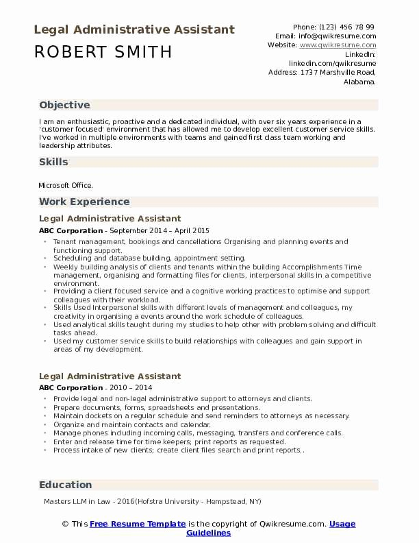Sample Resume Legal Administrative assistant Fresh Legal Administrative assistant Resume Samples
