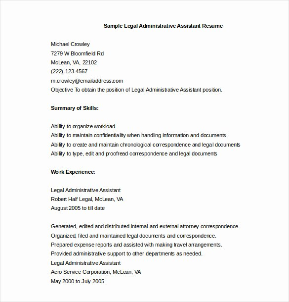 Sample Resume Legal Administrative assistant Inspirational 13 Administrative assistant Resume Templates Doc Pdf Excel