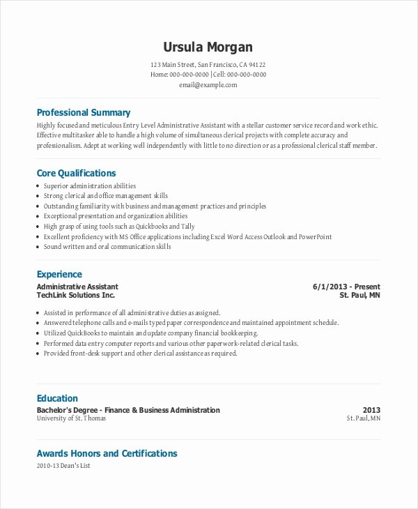 Sample Resume Legal Administrative assistant Lovely 10 Entry Level Administrative assistant Resume Templates – Free Sample Example format