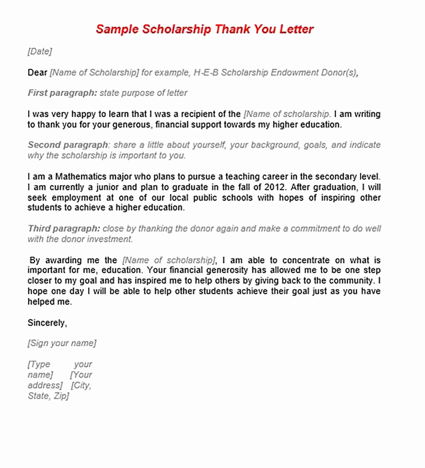 Sample Scholarship Thank You Letter Elegant 11 Scholarship Thank You Letter Sample for Doc Pdf Words