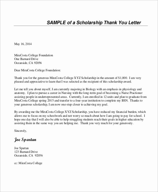 Sample Scholarship Thank You Letter Inspirational Sample Thank You Letter for Scholarship 7 Examples In Word Pdf