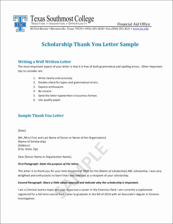 Sample Scholarship Thank You Letter New Writing College Scholarship Thank You Letters