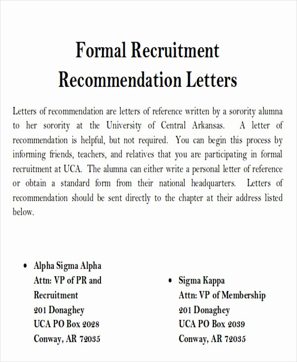 Sample sorority Recommendation Letter Awesome Sample sorority Re Mendation Letter 6 Examples In Word Pdf