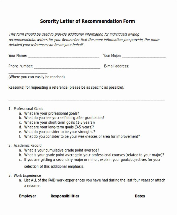 Sample sorority Recommendation Letter Luxury 7 Sample sorority Re Mendation Letters Pdf Doc