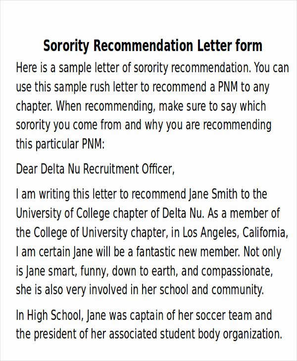 Sample sorority Recommendation Letter New Sample sorority Re Mendation Letter 6 Examples In Word Pdf