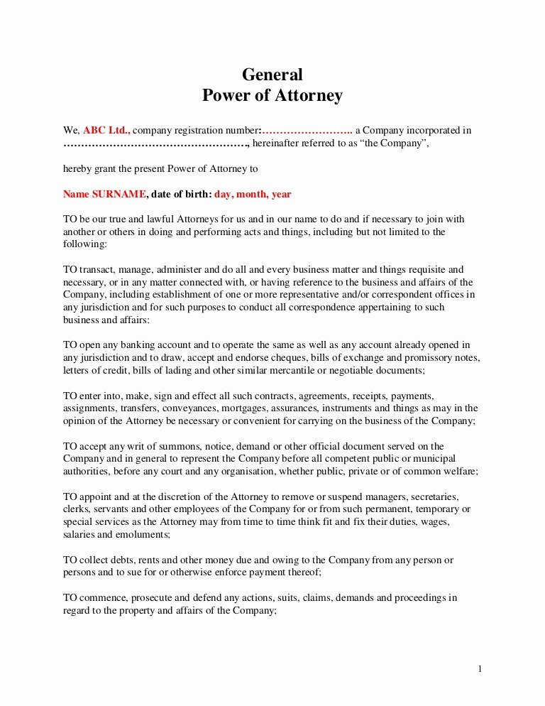 Sample Special Power Of attorney Beautiful General Power Of attorney