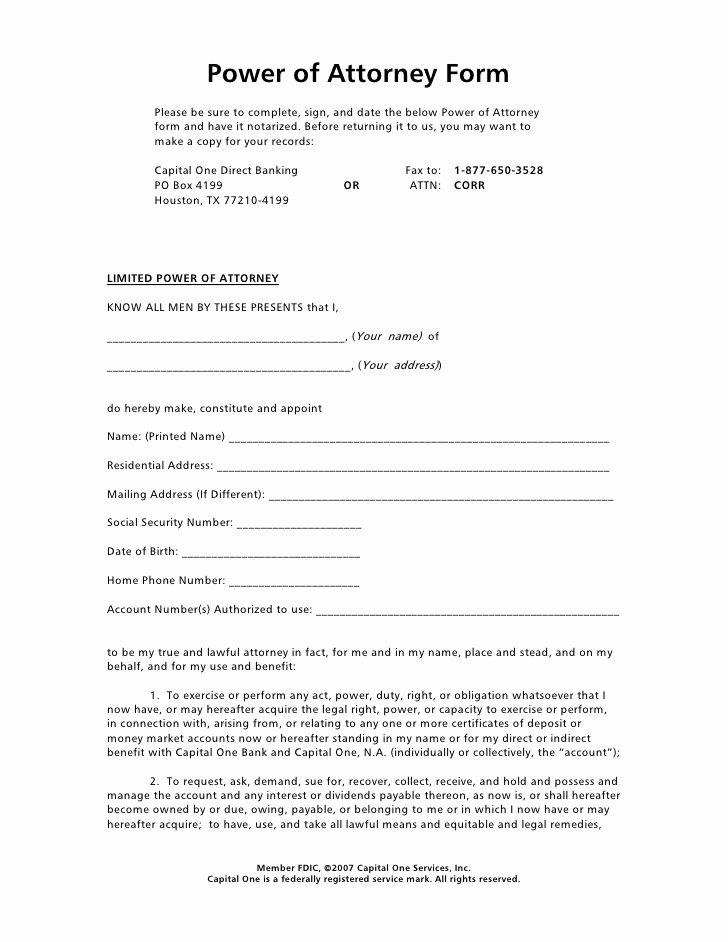Sample Special Power Of attorney Fresh Power Of attorney form