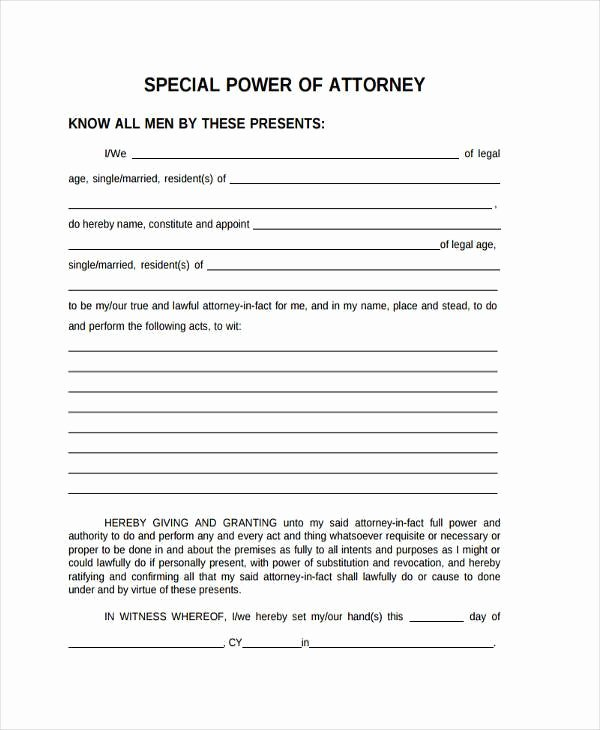 Sample Special Power Of attorney Inspirational Free 35 Power Of attorney forms