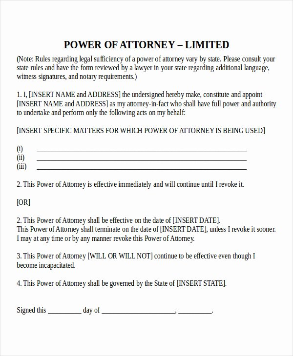 Sample Special Power Of attorney Inspirational Power attorney Template