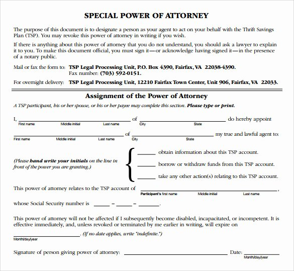 Sample Special Power Of attorney New Sample Special Power Of attorney form 8 Download Free Documents In Pdf Word