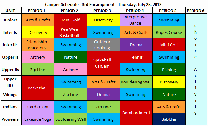 Sample Summer Camp Schedule Awesome Day In the Life