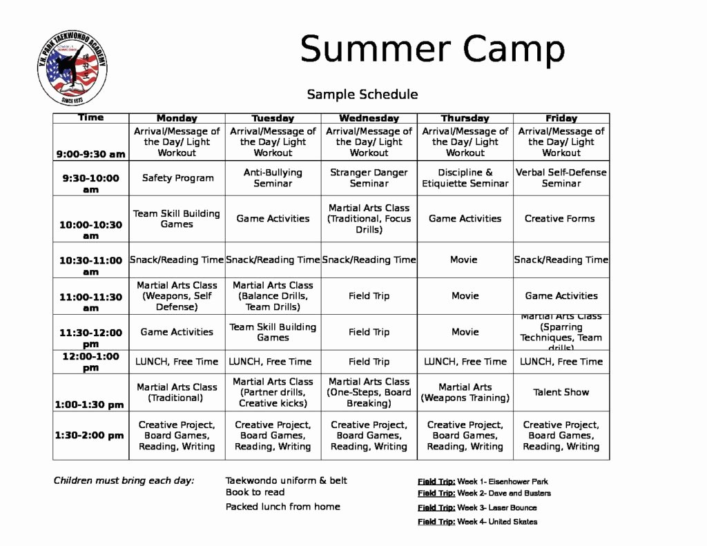 Sample Summer Camp Schedule Beautiful Y H Park Taekwondo Summer Camp In Levittown Digital
