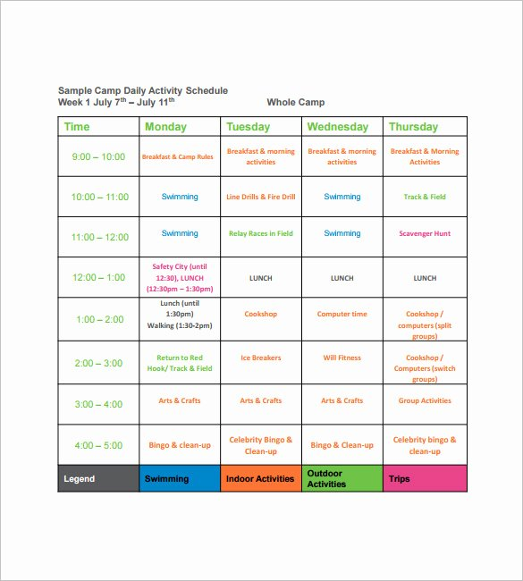 Sample Summer Camp Schedule Elegant 15 Camp Schedule Templates Pdf Doc