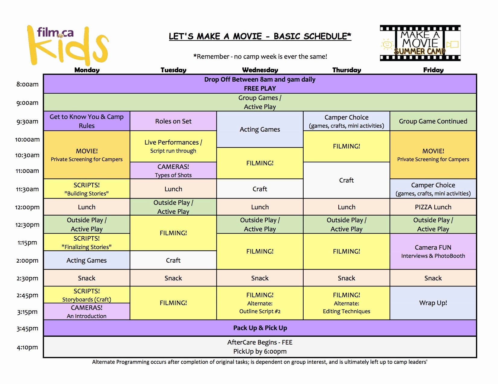 Sample Summer Camp Schedule Fresh Let S Make A Movie Camp Ca Cinemas In Oakville On